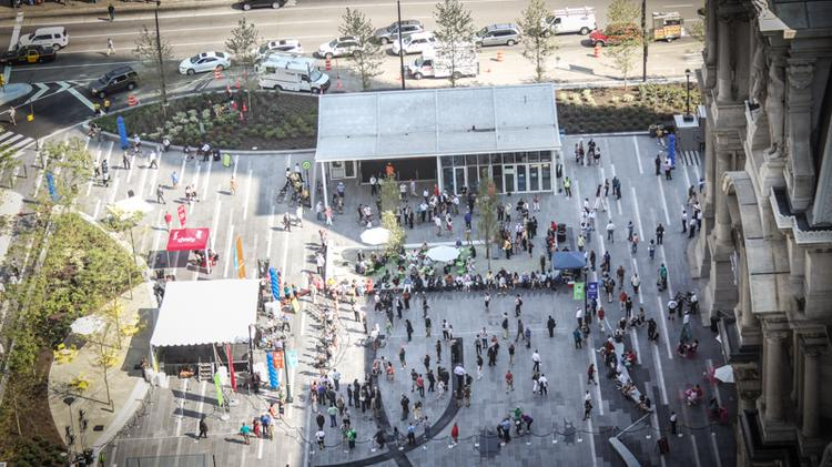 From above, you can see Rosa Blanca Café, the new café by Chef Jose Garces.