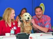 Shelley Wilson of Wilson Home Care and Steven Ai of City Mill help Tucker the Therapy Dog to answer a call at the Kapiolani Medical Center's annual radiothon for the Kapiolani Children's Miracle Network. Volunteers from businesses including Costco, Sam's Club, Aloha Care, Alexander & Baldwin and ProService Hawaii, volunteered to answer calls.
