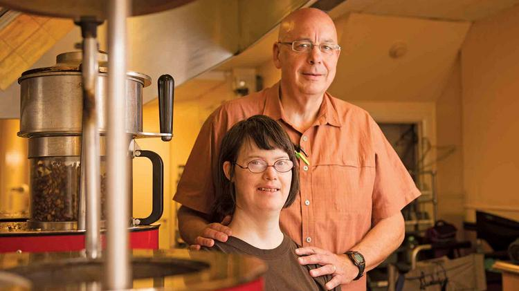 Dave Baldwin, CEO of Furnace Hills Coffee Co., and his daughter and coffee roaster, Erin Baldwin, in their Westminster shop.