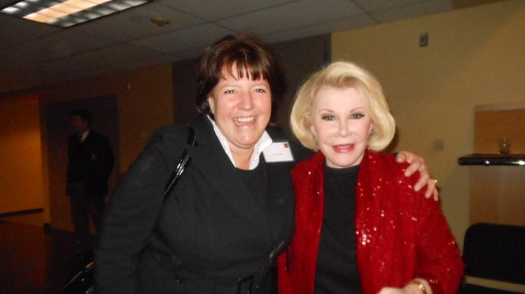 Patti Payne's daughter Lee Keller, founder of The Keller Group, with comedian Joan Rivers in February 2012, when Rivers brought down the house with her irreverent, offensive and hilarious performance at Benaroya Hall.