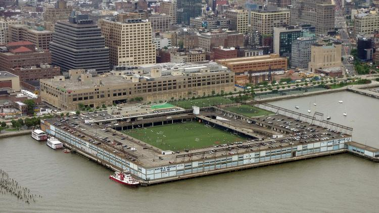 Pier 40 in New York City, as seen from above.