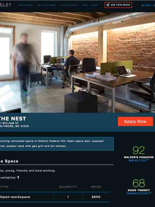 this screen shot shows an example of a listing on the new kingletbiz real baltimore office space marketplace kinglet