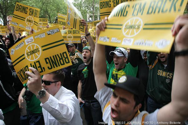 """Thousands of people attended a """"Bring back the Sonics"""" rally at Occidental Park in Seattle last summer."""