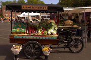 "The Portland Farmers Market's new Produce Pedaler will make appearances throughout the season at downtown locations. The old-fashioned Dutch ""bakfietsen"" cargo bike is outfitted to sell fruits, veggies and flowers."