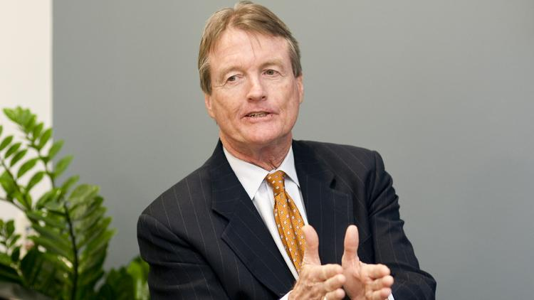William Powers, president of the University of Texas at Austin, speaks during an interview in Dallas.