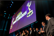 """The team from Portland-based Stillmotion accepting their Emmy for """"One Heartbeat."""""""