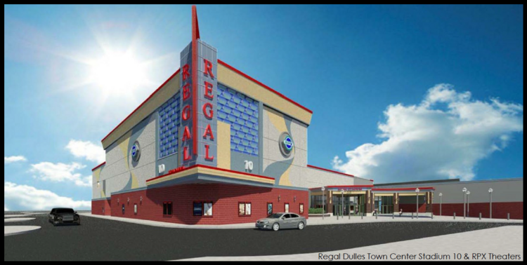 A rendering of the Regal Stadium 10 & RPX theater that will be built at Dulles Town Center.