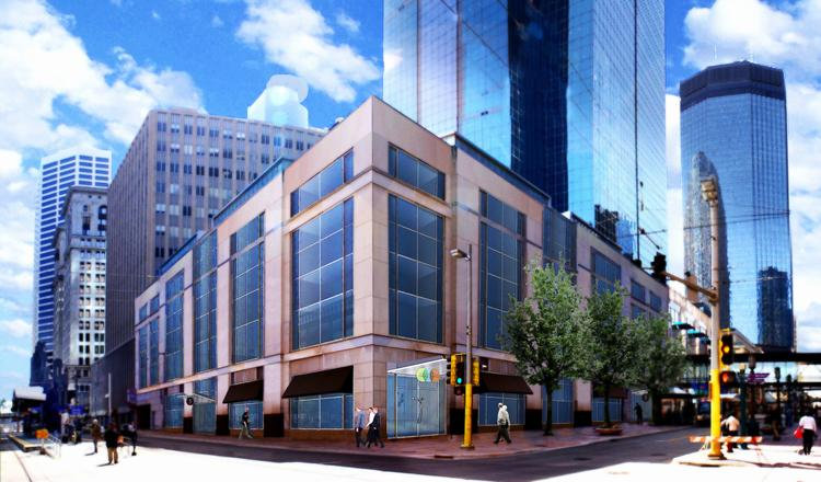 A rendering of how the 505 Nicollet building will look when United Properties completes its renovations.