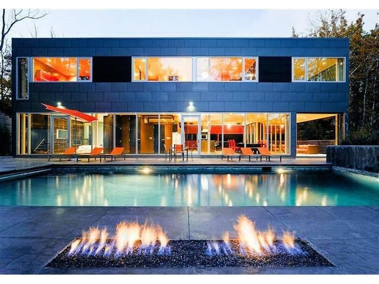 The heated pool at Zinc House has a built-in fire pit.