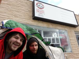 Jordan Morris, left, and James Rudder camped in freezing weather to be the first customers to shop at Acme Comics Presents in Greensboro.