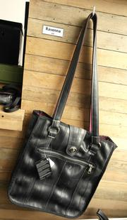 The Ravenna shoulder bag is made from 66 percent upcycled materials.