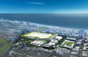 Portman CMC's revised plan for the Miami Beach Convention Center district includes attaching the hotel, which would rise to 124 feet, to the south side of the convention facility.