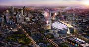 A view of the proposed stadium and downtown Minneapolis