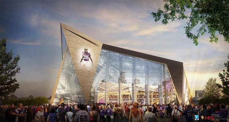 One side of the stadium will feature huge, rotating glass doors that open onto a plaza