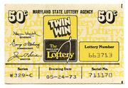 The Maryland Lottery's first game, Twin Win, was a 50-cent weekly drawing with a top prize of $50,000