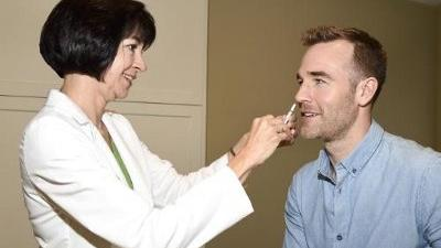 Actor James Van Der Beek gets vaccinated with AstraZeneca's FluMist Quadrivalent, a needle-free influenza vaccine formulated as a spray.