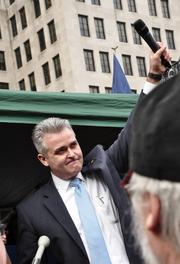 """Assemblyman Steve McLaughlin (R-Schaghticoke), who got a particular loud ovation from the crowd. A couple of weeks before the rally, McLaughlin said Hitler and Mussolini """"would be proud"""" of Cuomo and how quickly he got his gun-control legislation passed. McLaughlin later apologized."""