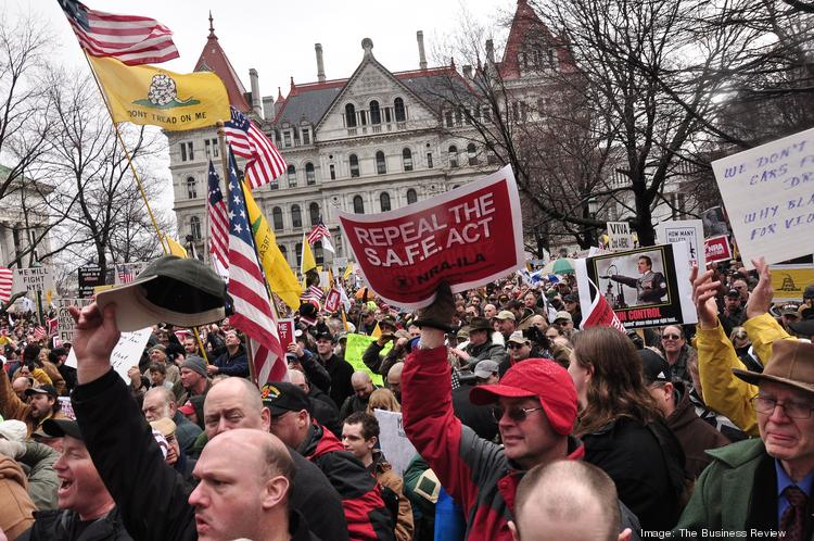 At least several thousand people packed onto a muddy park outside the state Capitol on Feb. 28 to protest New York's new gun restrictions.