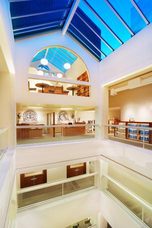 The Church of Scientology's Portland location includes a five story atrium at its center.
