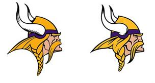 The Minnesota Vikings have tweaked their longstanding Norseman logo. The old logo is on the left, the new one on the right.
