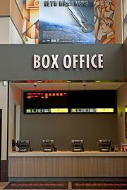 The theater has one box office area and several ticket kiosks located both inside and outside the theater.