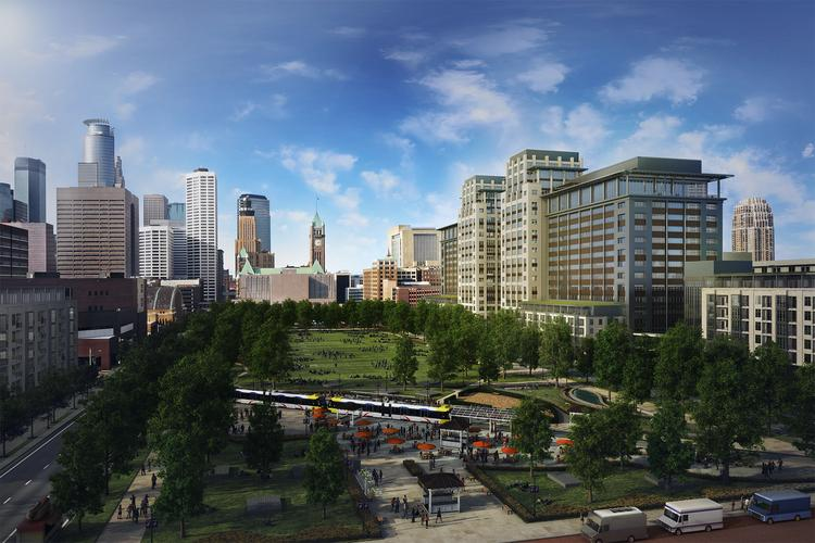 A rendering of a proposed redevelopment of Minneapolis land now occupied by the Star Tribune building, which will include offices, apartments and a park. The new building at the right is a mix of office and residential units, with parking as well.