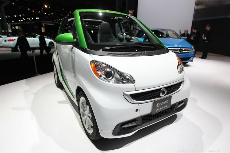 The Daimler AG Smart Car electric vehicle on display at the 2013 New York International Auto Show.