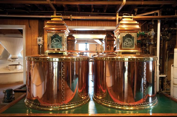 All Maker's Mark bourbon go through a double distillation process through these two copper kettles.