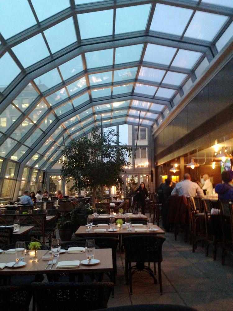 Union restaurant in downtown Minneapolis. The skylight can retract to create an outdoor dining patio.