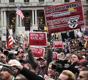 The rally was organized by the New York State Rifle & Pistol Association, led by Tom King, of East Greenbush, who also sits on the board of directors at the National Rifle Association, or NRA.