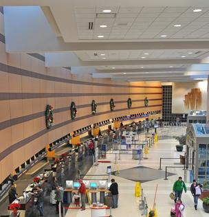 Inside the Albany International Airport terminal, 1,969 fixtures are being retrofitted with high-efficiency LEDs.