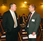Matthew Roach, left, of The Huntington Bank and Michael Pearce of Citizens Bank.