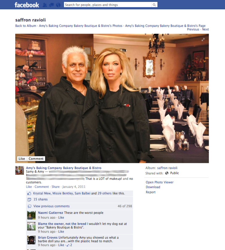 A screen capture of Samy and Amy Bouzaglo, owners of Amy's Baking Co. Bakery and Boutique Bistro in Scottsdale, from a photo posted on the company's Facebook page in January 2011.
