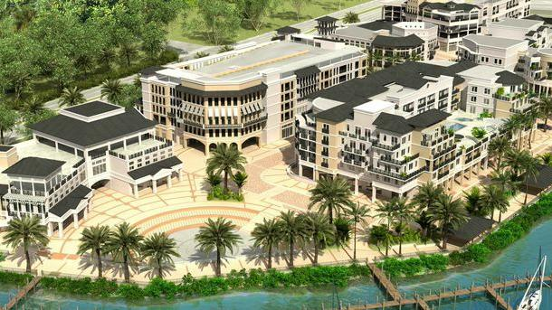 A Rendering Of The Wyndham Grand Jupiter At Harbourside Place S Plaza Which Will House Several
