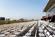 As of Wednesday, chairs have already been set out at Pimlico in preparation for this week's Preakness events.