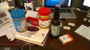 OBJ Web Producer Megan Anderson's stash features expired peanut butter, tea, beer and fresh raisins.
