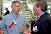 D.H. Griffin's Mason Kenyon, left, chats with Sauer Inc.'s Hawes Helwig.
