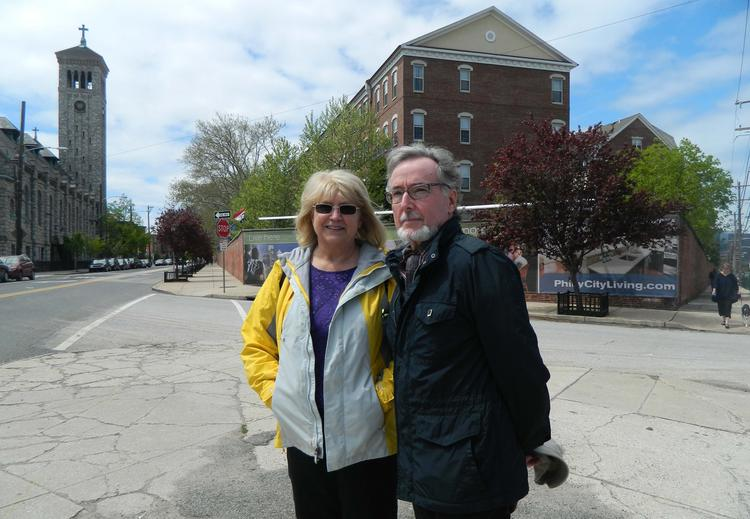 Nancy and Burke Stinson outside Naval Square, a Toll Brothers Inc. community where they have lived since 2006.