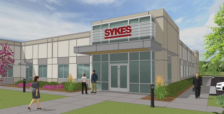 A rendering of the Sykes Enterprises call center building in Fayetteville