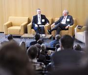 Senior staff writer Will Boye (left) and Johnny Harris at the Charlotte Business Journal's CREQ Live event in March.