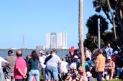 The VAB as seen from the launch viewing area. See those people? None of them know which way to look.