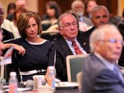 Former Congressman Dave Hobson (center right) listens to the speakers along with other attendees at the 2013 Spring Defense Forum.