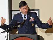 U.S. Air Force Lt. Gen. C.D. Moore II, commander of the Air Force Life Cycle Management Center at Wright-Patterson Air Force Base, spoke about how the military is dealing with the budgetary uncertainty and sequestration cuts.