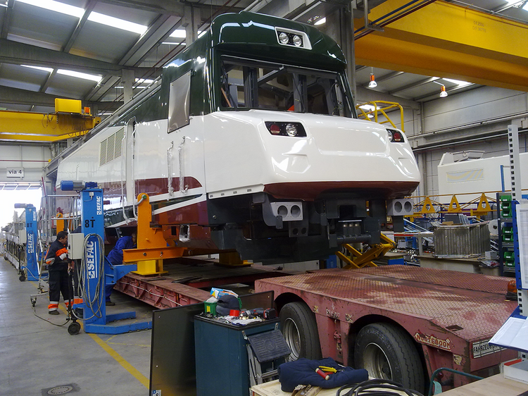 An Amtrak Talgo train being assembled in Milwaukee, Wis.
