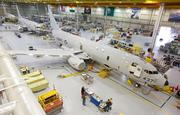 The Boeing P-8 final assembly liine in Seattle is where workers install the sensors, five side-by-side consoles for operators, and the control systems for the Harpoon missiles, torpedoes and sonar buoys the aircraft can drop in the ocean to find submarines.