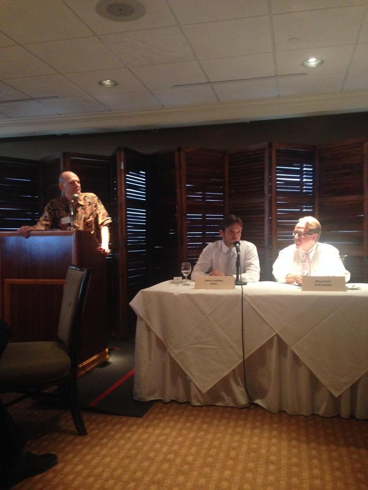 Innovations in investing was the topic of discussion at the Hawaii Venture Capital Association's September luncheon. Pictured here from left are Rob Robinson, HVCA board member, Laurens Laudowicz, founder of Juicies, and Michael North, co-founder of Pacific Royalties.