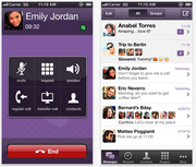 Viber iPhone: 5.5 million downloads, 4 stars. Get it here. Android: 23.7 million downloads, 4+ stars. Get it here.