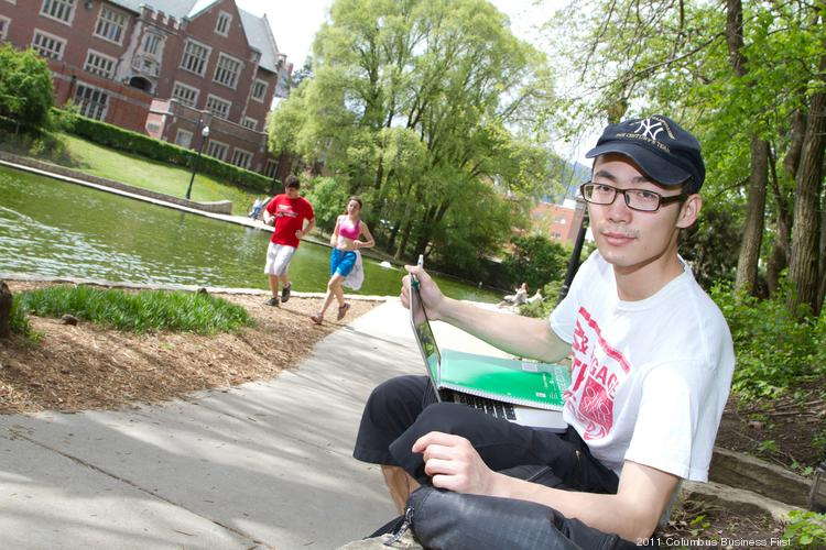 """Tianxia Gu came to Ohio State from China, picking the school mostly from information he found online, but it didn't hurt that its football and basketball teams were good because he's a """"super sports fan."""""""