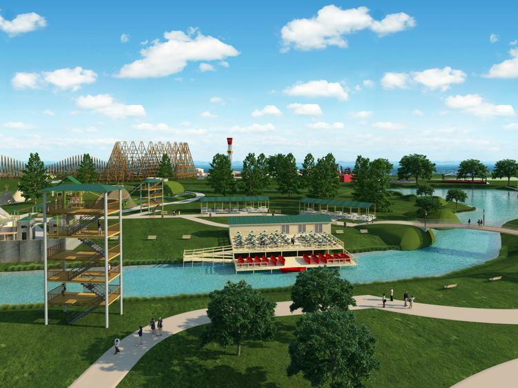 A rendering of the proposed Grand Texas Entertainment District. Click here to see a slideshow of the park's renderings.