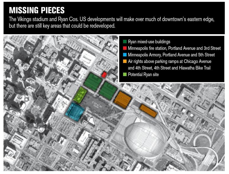 Ryan's plan for the area near the Minnesota Vikings stadium, along with areas that could be developed in an even larger plan.